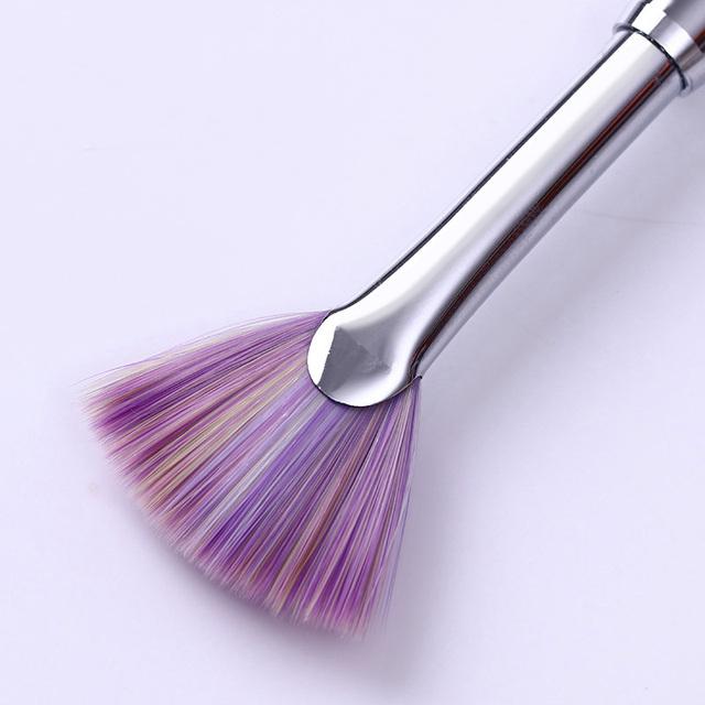1Pc Nail Brush Gradient Fan Shape Dust Glitter Powder Remover Cleaner Pen Salon Pink Rhinestone Handle Nail Art Manicure Tools