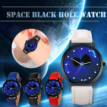 Space Black Hole Unique Solar System Watch Planets Astronomy Unisex Classy Casual Quartz Leather Strap Analog Watches Montre Fem(China)