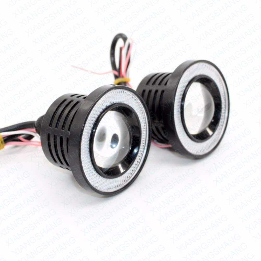 2.5 inch 64mm Car Universal COB LED Angel Eyes Light Headlight Fog Lamp W/ Lens Auto DRL Driving Light Daytime Running Lights brand new universal 40 w 6 inch 12 v led car work light daytime running lights combo light off road 4 x 4 truck light