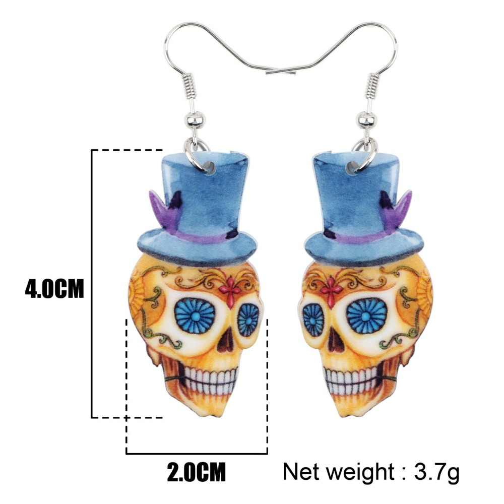 Bonsny Acrylic Dangle Drop Gentry Skeleton Skull Earrings Big Long Halloween Festival Fashion Jewelry For Girls Women 2018 New