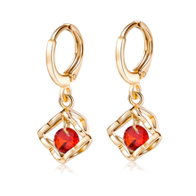 Fashion Simple Round Red Green & Purple CZ Luxury Wedding Jewelry For Women Yellow Goldplated Dangle Earrings Wholesale Party