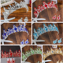 HIMSTORY Luxurious Crystal Large Baroque Bridal Wedding Hair Accessories Red Green Blue Tiaras and Crowns Jewelry