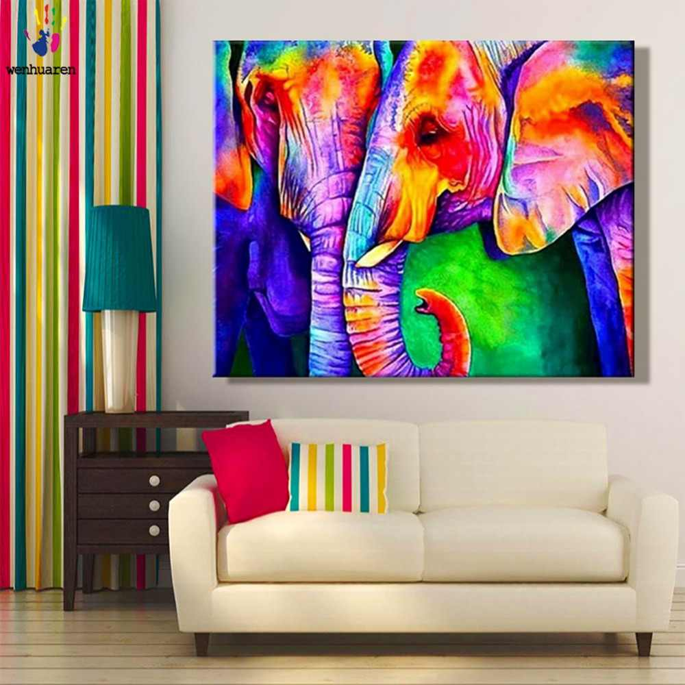 DIY painting pictures by numbers Animal elephant painting picture coloring by numbers framed Home for adult for hoom decor