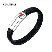 XUANPAI 13mm Free Engraving Medical Bracelet for Men Black Genuine Leather Identification Bangle Male Emergency Jewelry 8.4