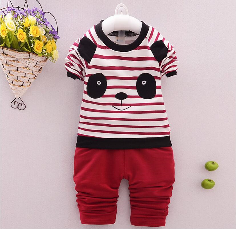 New Baby Boys Clothing Sets Kids Cotton Character Panda Pattern Full Shirt + Pants Suit Children Casual Clothes