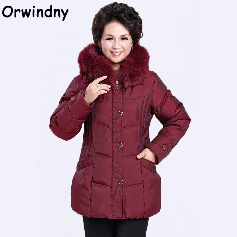 Orwindny 2018 White Duck   Down     Coats   Women Thickening Mother Winter   Down   Jacket Outerwear Slim Casual Clothing Hooded