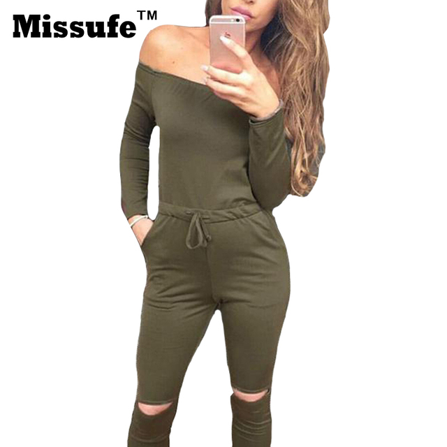 Missufe 2xl plus size body sexy cut out del vendaje de bodycon mujer mono de la raya vertical de cuello ocasional 2017 bodycon para mujer chándal