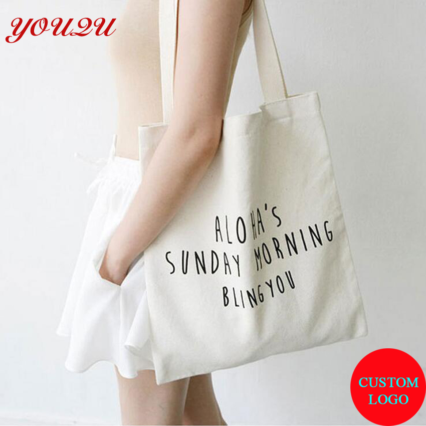 100% cotton Canvas shopping bag with own design and logo