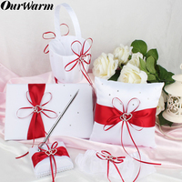 OurWarm 5pcs/set Flower Girl Basket Wedding Double Heart Ring Pillow Set Diamond Satin Cushion Home Party Wedding Ceremony Decor
