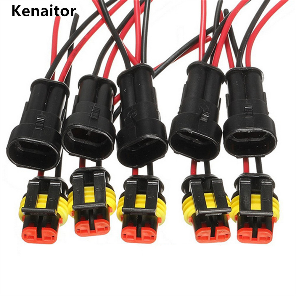 10Pcs 2 Pin Way Sealed Waterproof Car Electrical Connector Wire with Plug Kit