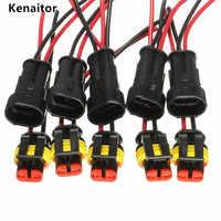 100sets Kit de 2 pines AMP supersello impermeable conector de cable eléctrico para Auto 2 pines sellado de vía envío gratis