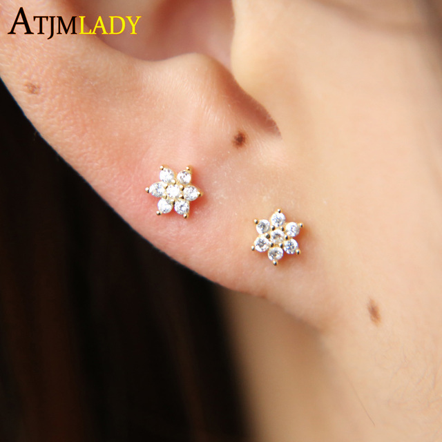 2018 New Design Cute Studs Cz Tiny Mini Small Flower Stud Earring Authentic 925 Sterling