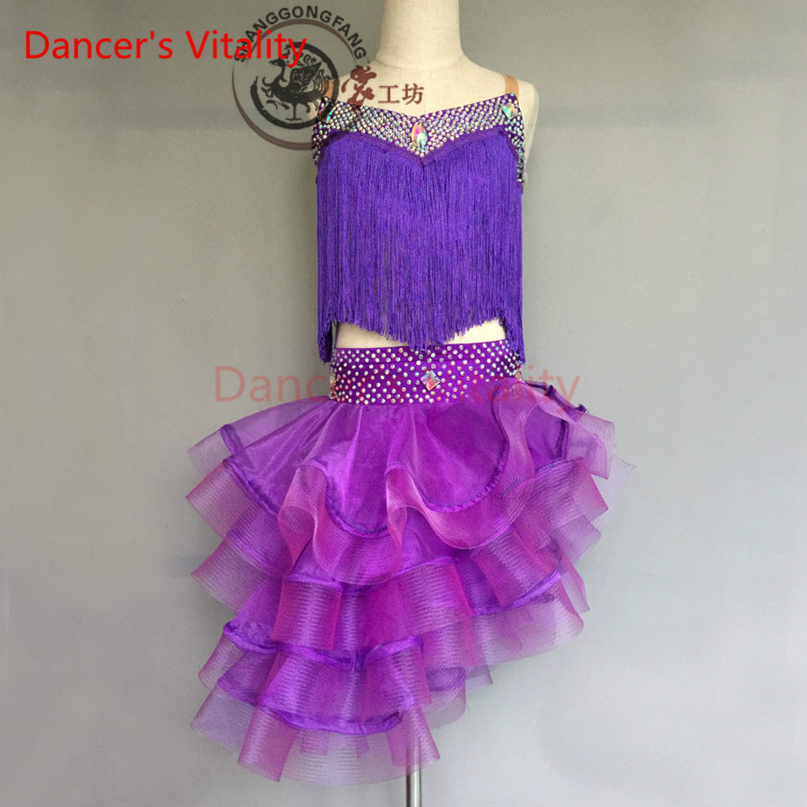 Dancers Vitality 2017 Harness Back Opening Crimping Latin Dance Dress Women Samba Salsa Tango Dress For Latin Competition Dress