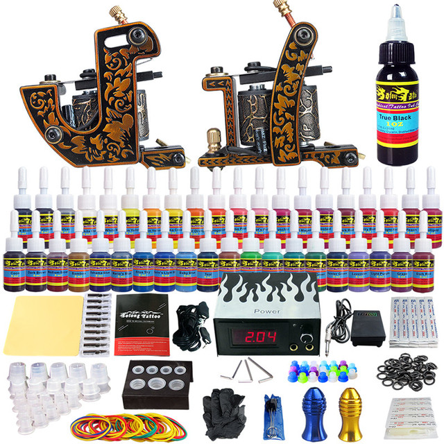 Solong Tattoo Complete Tattoo Kits Pro 2 Handmade Coil Machine Guns Power Supply Foot Pedal Grip Tip Ink(40 colors 5ml) TKB10