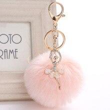 8cm Rex Rabbit Fur Ball PomPom Keyrings Dance BALLET Girl key chain Car Pendant Keychain Handbag Key Ring For Women 16 colors