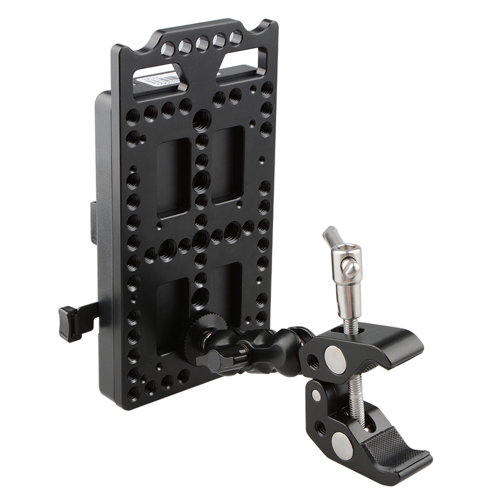 CAMVATE V Lock Mounting Plate Power Supply Splitter with Super Clamp Crab Pliers Clip Ball Head Mount C1584 фартук для детского творчества нарукавники zoobles синий