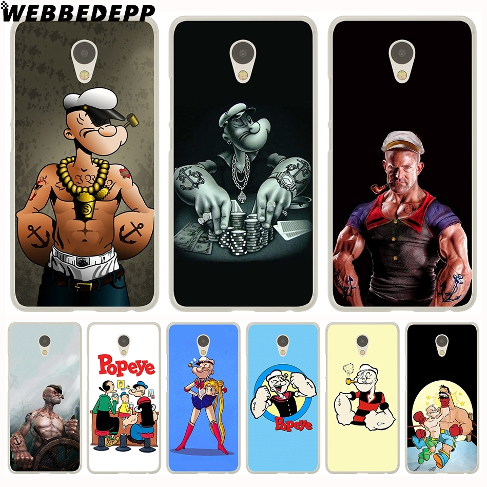 WEBBEDEPP popeye Hard Case for Meizu M6 M5 M3 Note M5S M5C M3S M2 Mini Pro 7 6 U20 U10 ...