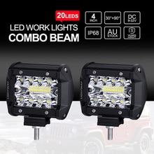 4″ Inch 60W 20LED Work Light Flood Spot Combo Off-road Driving Fog Lamp Boat SUV