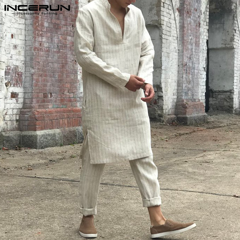 INCERUN Men Muslim Kaftan Long Sleeve V Neck Striped Long Tunic Robes Islamic Caftan Saudi Arab Middle East Men Jubba Thobe 2020