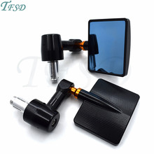 7/822mm Universal square Motorcycle Bar End Rearview Mirrors Rear View Handle Side Mirrors CNC Aluminum For Suzuki Kawasaki triclicks 22mm handle bar motorcycle end side mirrors 7 8 cnc rear view mirror universal for street bikes sports bikes choppers