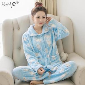 Image 2 - Winter Pajamas Set Women Two Piece Flannel Thick Warm Top and Pants Pajamas Sets Cute Animal Kawaii Pajama Sleepwear Pajama Suit