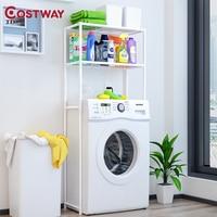 COSTWAY 2 Layer Washing Machine Shelf Toilet Rack Storage Shelf Holders Racks Saving Space For Bathroom W0200