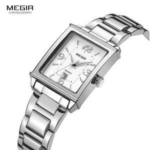 Image 3 - Megir montre à Quartz Simple pour femmes, en acier inoxydable, avec affichage du calendrier, de la Date, de la mode, étanche, robe, 1079l