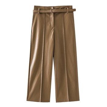 2019 Autumn Brand New Women PU Leather Pants Belted High Waist Faux Leather Ladies Trousers Winter Pants Wide Leg Pants Pantalon 5