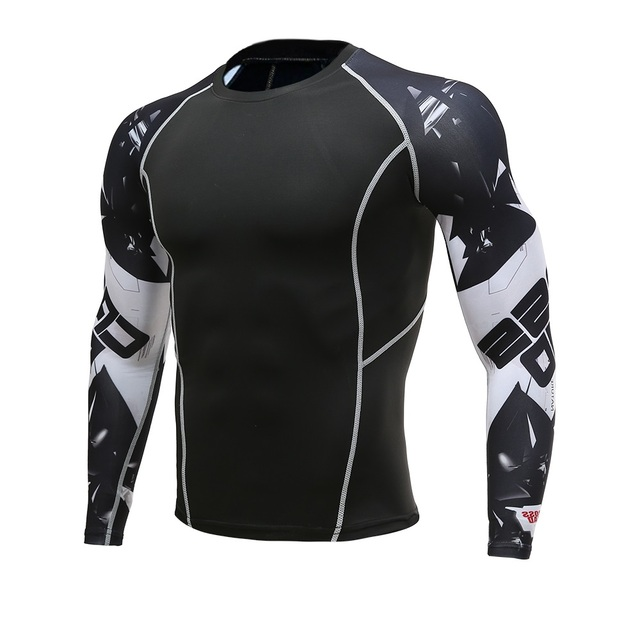 Serigala 3D Dicetak Tshirt Kompresi Celana Ketat Pria Kebugaran Berjalan Kemeja Bernapas Lengan Panjang Olahraga Rashgard Gym K Berlaku Pakaian