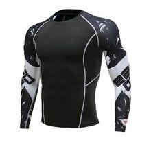 Волк 3D печатных футболка компрессионные колготки Для мужчин Фитнес управлением рубашку дышащий с длинным рукавом для спорта Rashgard тренажерный зал одежда для фитнеса