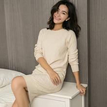 100% кашемировое высококачественное женское повседневное длинное платье свитер, женское осенне зимнее черное свободное вязаное платье свитер с длинным рукавом