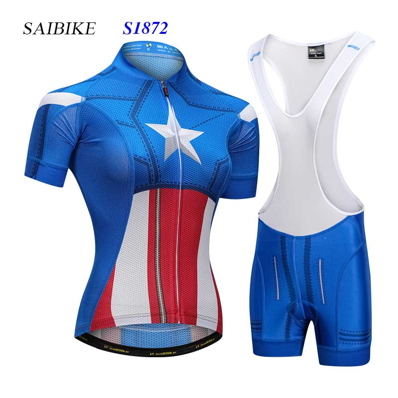 f0bd210eb Super Hero Captain America cycling jersey sets women cycling clothing  summer short sleeves bicycle jerseys mountain