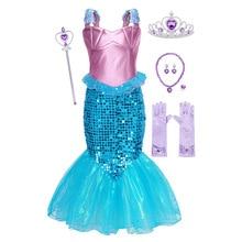 цены на AmzBarley Little Mermaid Ariel Fancy Costume Dress Girls Sequin Princess Birthday Party Cosplay Clothes Mermaid girl dress  в интернет-магазинах