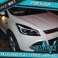 AKD Cars Styling Headlight For Ford Kuga 2013 Headlights LED Running lights Bi Xenon Beam Fog lights angel eyes Auto levels