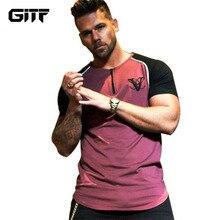 GITF Mens Run Jogging Sports Cotton T-shirt Man Gym Fitness Bodybuilding t shirt Male Workout Training Tee Tops Brand Clothing