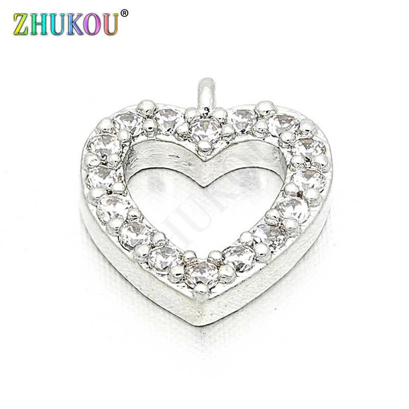 9*10mm Brass Cubic Zirconia Love Heart Charms Pendants DIY Women Necklace Pendant Jewelry Accessory Findings, Model: VD86