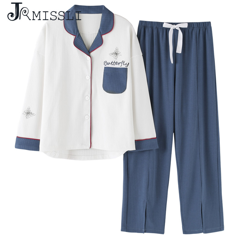 JRMISSLI pijama mujer new brand pajamas for women cotton sleepwear set women spring autumn home clothes 2019 pyjama femme