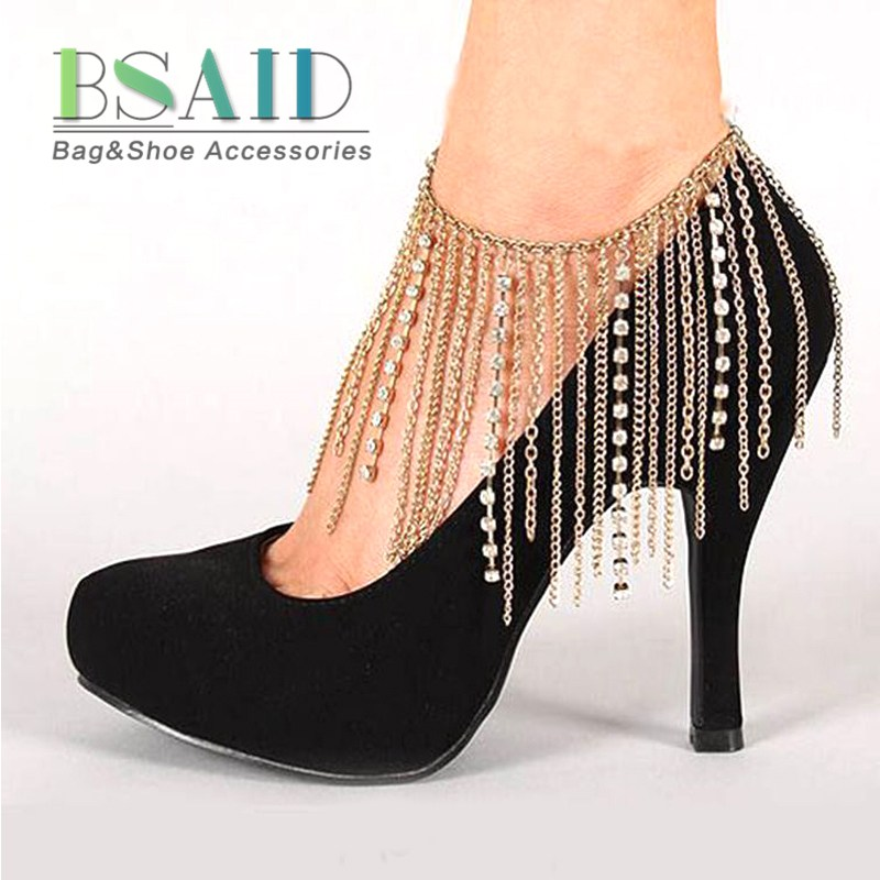 1 Piece Anklet Tassel Rhinestones Chain Shoes Accessories For Women High Heel Crystal Foot Chain Shoe Decoration Fringe Ornament
