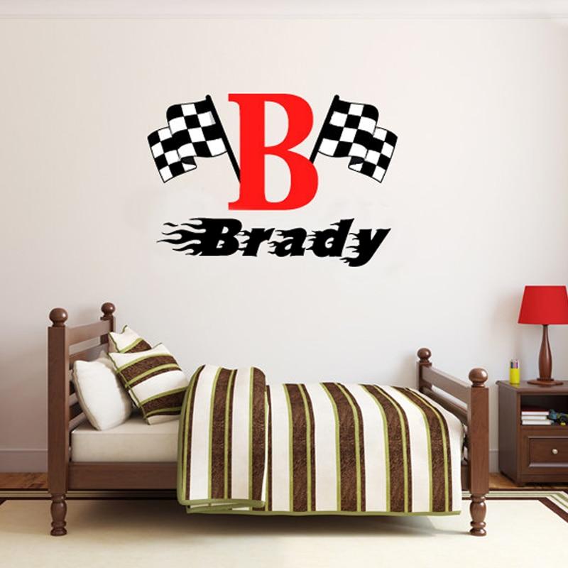 Boys name checkered flag racing monogram wall decal for Room wraps
