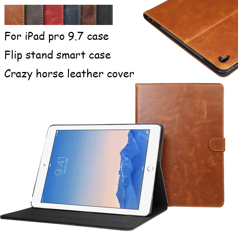 Crazy horse leather Pattern Stand PU Leather tablet case for Apple iPad Pro 9.7 inch New Luxury Smart Cover for iPad Pro 9.7 for apple ipad air 2 pu leather case luxury silk pattern stand smart cover