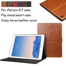 Crazy horse leather Pattern Stand PU Leather tablet case for Apple iPad Pro 9.7 inch New Luxury Smart Cover for iPad Pro 9.7