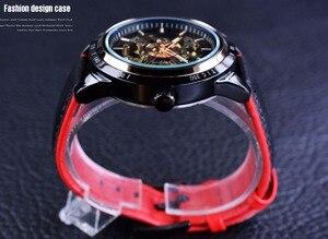 Image 4 - Forsining montre automatique pour hommes, conception de moto, ceinture noire authentique, étanche, squelette, marque de luxe, horloge mécanique