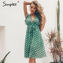 Simplee Seksi V boyun polka dot yeşil yaz elbisesi kadın 2019 Gündelik fırfır midi elbise Zarif tatil plaj kadın vestidos festa