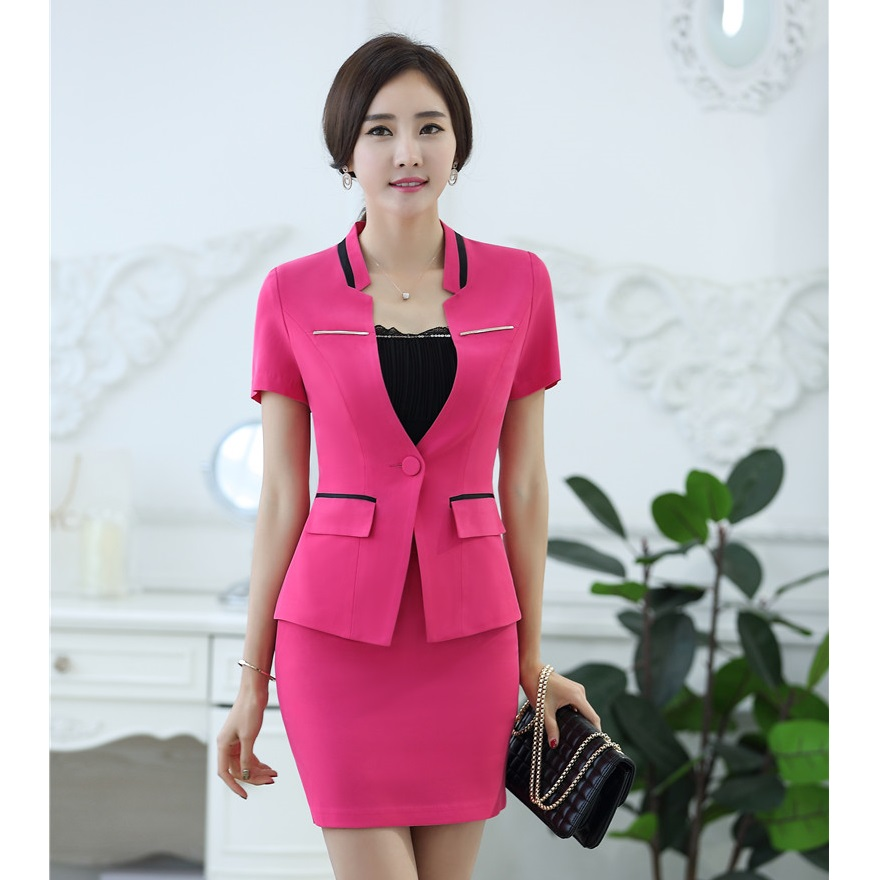 9150078fa59d Summer 2 Pieces Uniform Designs Work Wear Suits With Tops And Skirt For  Women Professional Female ...
