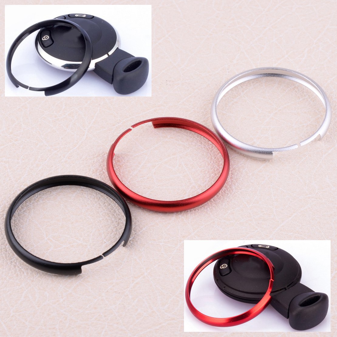 Black Metal Protective Ring Keyring For 08-Up Mini Cooper Smart Key Remote Case