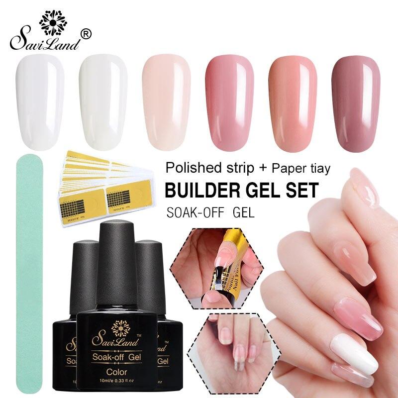 Saviland UV Builder Gel Fiberglass Nail Extension Set Clear Acryl UV Gel Varnish Manicure Building Silk Nail Form Gel Polish