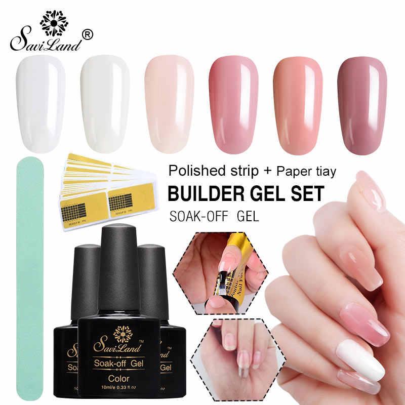 Saviland UV Builder Gel Glasvezel Nail Extension Set Clear Acryl UV Gel Vernis Manicure Building Zijde Nail Vorm Gel Polish