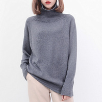 2019 autumn and winter sweater fashion sweater new loose high collar warm and comfortable lady cashmere sweater head thickening