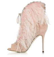 Elegant Pink Feathers High Heel Sandal Boot Peep toe Back Zipper Cage Boots Woman High Heel Gladiator Sandal Boots Real Photo