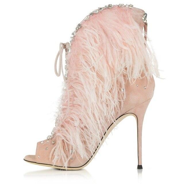 Elegant Pink Feathers High Heel Sandal Boot Peep toe Back Zipper Cage Boots  Woman High Heel Gladiator Sandal Boots Real Photo dcfdbf0f0284